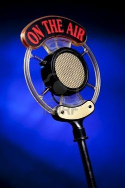 Radio-microphone-on-blue-background